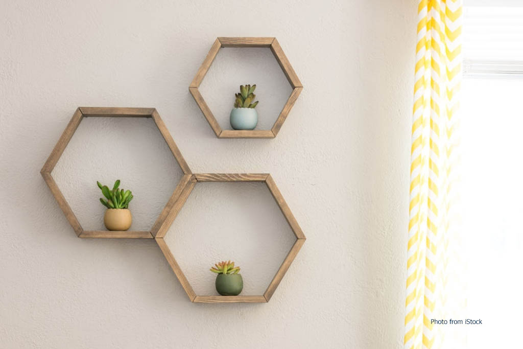 Rak Dinding Heksagonal